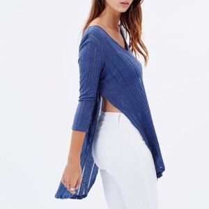 FREE PEOPLE Astoria Ribbed Split Top in Blue